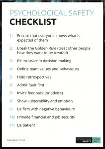 Psychological Safety checklist
